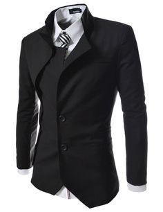 TheLees Mens unbalance 2 button china collar jacket Black Large(US Medium)