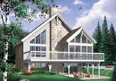 Elevation of A-Frame   Coastal   Contemporary   Craftsman   House Plan 65480