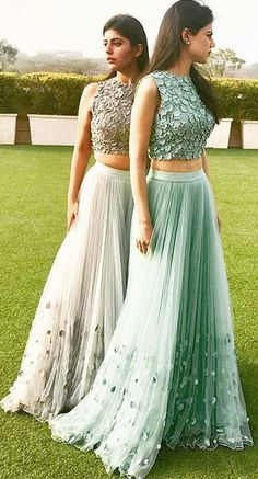 Elegant A-line Tulle Two Pieces Long Prom Dress,Cheap Formal Dress #twopieces #lace #green #tulle #long #prom #okdresses