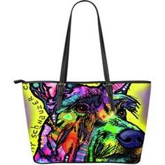 "Schnauzer Leather Tote Bags (Large) $129.99 - $54.99 Schnauzer Large Leather Tote Bags Are you a Schnauzer Owner who loves their Dog? Then these custom designed Premium Leather Tote Bags are a MUST HAVE!Manufactured with premium water-resistant PU leather.Features a double-sided printFeatures comfortable and sturdy 11"" carrying straps with high-quality stitching for long-lasting durability.Finished with multiple interior compartments to keep your items organized.Each tote bag measures 17"" x…"