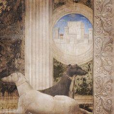 """Piero della Francesca, dettaglio da """"Sigismondo Pandolfo Malatesta in preghiera davanti a san Sigismondo"""", 1451 affresco Rimini, Tempio Malatestiano"""