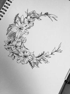This ones for me, floral moon design tattoos dövme fikirleri Pretty Tattoos, Cute Tattoos, Beautiful Tattoos, Flower Tattoos, New Tattoos, Body Art Tattoos, Tattoo Drawings, Tribal Tattoos, Small Tattoos