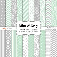 Mint & Gray Digital Paper - patterns include damask, chevron, polka dots, moroccan, stripes - for photography background, scrapbooking paper, any craft supply. Great for bridal shower invitations and baby shower invitations!