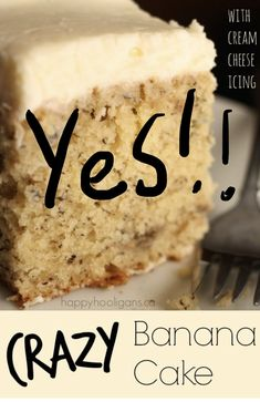 Best banana cake ever! This crazy banana cake with cream cheese icing is moist and delicious every time. It's the only banana cake recipe you'll ever need. Just Desserts, Delicious Desserts, Yummy Food, Baking Desserts, Cake Baking, Health Desserts, Cream Cheese Icing, Cake With Cream Cheese, Food Cakes