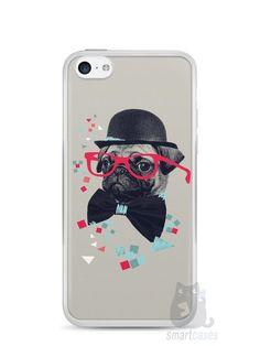 Capa Iphone 5C Cachorro Pug Estiloso #1 - SmartCases - Acessórios para celulares e tablets :)
