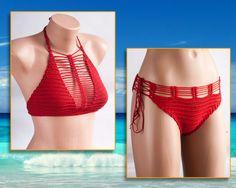 Crochet Red BikiniRED Swimsuit BeachWear 2016 by LoveKnittings