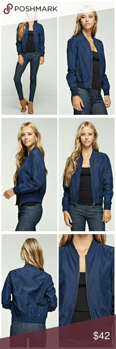 Navy Bomber Jacket 100% Polyester  Lightweight Jackets & Coats