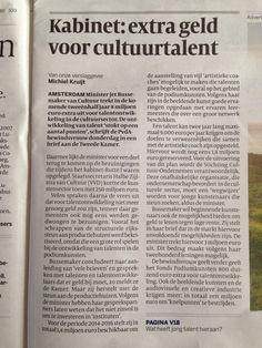 Uit de Volkskrant: extra geld voor talentontwikkeling. (1/2)