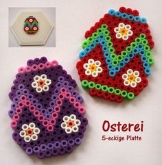 beading patterns Hama Oster-Deko - Spielwaren-Krll in Gnserndorf Hama Beads Design, Diy Perler Beads, Perler Bead Art, Pearler Bead Patterns, Perler Patterns, Art Perle, Peler Beads, Iron Beads, Melting Beads
