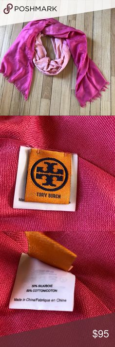 Tory Burch ombré scarf This beautiful silk and cotton blend Tory Burch  ombré scarf has a repeating T print.  Excellent condition. Tory Burch Accessories Scarves & Wraps