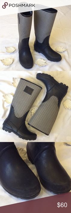 Ralph Lauren Houndstooth Rubber Riding Boots Very good condition, upper is a houndstooth fabric upper, some overshadow around rubber boot, some wear on rubber boot. Ralph Lauren Black Label Shoes Rain & Snow Boots