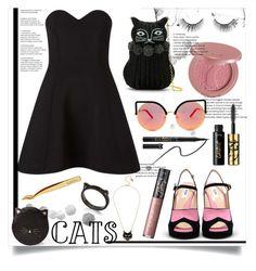 """CATS"" by bitty-junkkitty ❤ liked on Polyvore featuring Miss Selfridge, Serpui, Matthew Williamson, tarte, Betsey Johnson and Kate Spade"