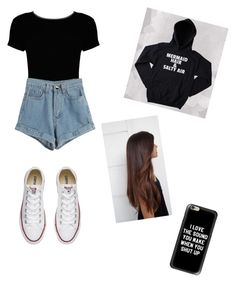 """""""It's that annoying time of year again where we're cold in the morning and almost dying of heat in the afternoon"""" by julianacontreras ❤ liked on Polyvore featuring Boohoo, WithChic, Converse and Casetify"""