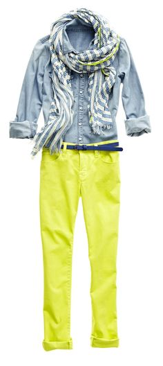 the pop of color for the jeans! jcp scarf, denim shirt, and skinny jeans Mini Shorts, Star Fashion, Fashion Outfits, Jeans Fashion, Yellow Pants, Neon Pants, Skinny Jeans Style, Denim Look, Teaching Outfits