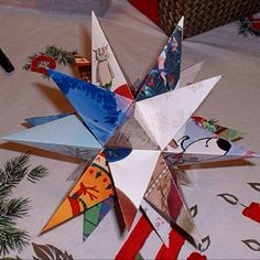 Finally found something I can make with all our wedding cards...a star topper for our Christmas tree this year!