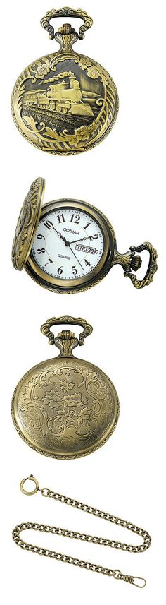 Other Pocket Watches 398: Gotham Mens Antiqued Bronze-Tone Locomotive Day-Date Quartz Pocket Watch BUY IT NOW ONLY: $69.95