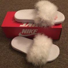 17435c9c11a White Nike fur slides Nike Slides