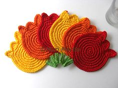 Crochet Coasters Tulips.  Too cute.  And you could do tons of other shapes, too!