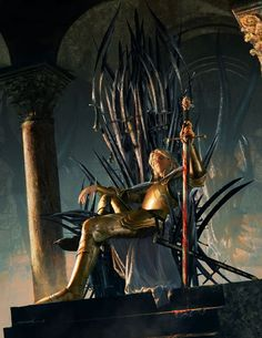 Jaime Lannister sitting on the Iron Throne, the blood of the Mad King still on his blade... Art by Michael Komarck for 'The Art of George R. R. Martin's A Song of Ice and Fire'.