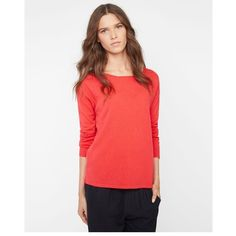 Comptoir Des Cotonniers 100% Cashmere Jumper (€160) ❤ liked on Polyvore featuring tops, sweaters, groseille, boat neck sweater, cashmere jumper, side slit top, red sweater and cashmere tops