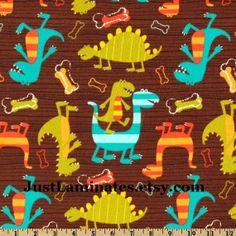 LAMINATED cotton fabric Dino Dudes Dinosaur WIDE BPA free yard yardage. $16,98, via Etsy.