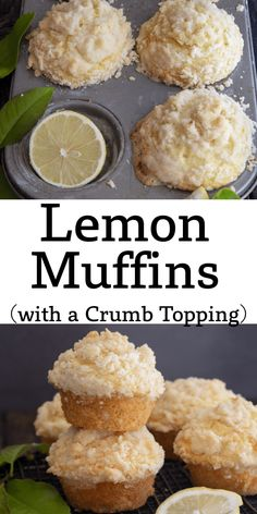 Lemon lovers are going to love these quick and easy Lemon Muffins with a Crumb Topping, they are perfect anytime, breakfast or snack. Not too sweet and with just the right amount of Lemon. Banana Crumb Muffins, Lemon Muffins, Breakfast Items, Breakfast Recipes, Dessert Recipes, Lemon Recipes, Sweet Recipes, Italian Lemon Cookies, Double Chocolate Chip Muffins