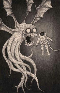 """John Kenn - Illustration - Monster  """"Mayday, Mayday. This situation seems...problematic. Requesting backup."""""""