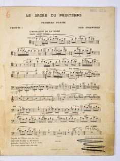 Stravinsky: Opening of Rite of Spring, Bassoon I part.  From archives of the New York Philharmonic