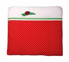traumhafter babyschlafsack in schlichtem wei mit einem kleinen marienk fer und dezenten borten. Black Bedroom Furniture Sets. Home Design Ideas