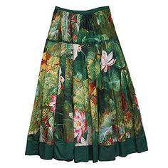 Feoya Étnico Falda Larga Casual Estampado Floral Bohemia Maxi Skirt para Verano Playa Viaje para Mujeres Loto