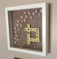 Faith hope love family scrabble art frame by Waystosay on Etsy(Diy Canvas Letters) Scrabble Letter Crafts, Scrabble Tile Crafts, Scrabble Letters, Canvas Letters, Box Frame Art, Box Frames, Craft Gifts, Diy Gifts, Frame Crafts