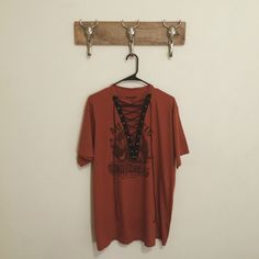 Custom Made Vintage Lace Up Tee Hand picked reworked vintage tee Fits like an oversized XL Feel free to ask me any questions Thanks for browsing my closet! Happy Poshing Vintage Tops Tees - Short Sleeve