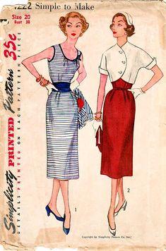 1950s Simplicity 4222 UNCUT Vintage Sewing Pattern Misses Slim