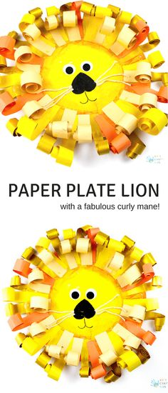 Easy and cute Paper Plate Lion Craft with a fabulous curly paper mane. Kids' will love the process of cutting, curling and sticking to create Lions with personality, which of course is perfect for developing fine motor skills as well as encouraging creative play. #preschoolcraft #kidscraft #craftsforkids #kidscrafts #animalcrafts #artycraftykids
