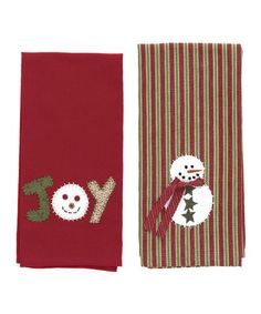 Take a look at this Snowman 'Joy' Dish Towel Set by Park Designs on #zulily today!