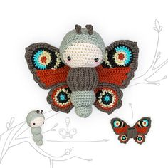 lalylala crochet pattern (printable PDF-file / 16 pages) PEACOCK Butterfly, including • caterpillar • interchangable wing suit . . . . . . . . . . . . . . . . . . . . . . . . . . . . . . . . . . . . . . . . HELLO BUG LOVERS AND CROCHET ADVENTURERS! Grab your research equipment