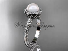 Platinum pearl diamond halo eternity engagement by VinsienaDesigns