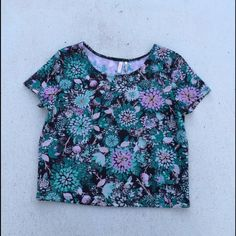 Frenchi Floral Crop Top 90% Polyester 10% Spandex. Brand new without tag. Frenchi Tops Crop Tops