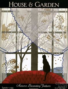 Published September 1925 A cat sits on top of a red tufted settee and watches the wind blow leaves off the fall trees. André E. Marty created this gouache illustration for the September 1925 House & Garden cover on autumn decorating features. Art Vintage, Vintage Design, Vintage Ads, Vintage Images, Vintage Posters, Vintage Paper, Vintage Ephemera, Vintage Books, Old Magazines