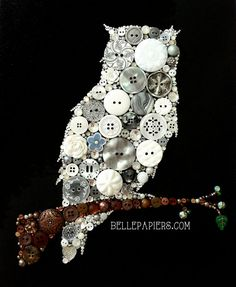 11x14 Owl Button Art Button & Swarovski Owl button owl art