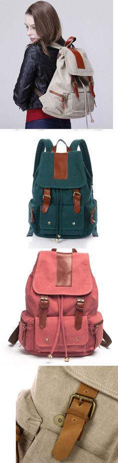2017 Vintage Large Capacity Travel Rucksack Leather Canvas School Backpack - https://www.luxury.guugles.com/2017-vintage-large-capacity-travel-rucksack-leather-canvas-school-backpack/