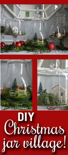 Such a whimsical, EASY Christmas idea: make little wintry scenes with ornaments in jars!: