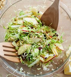 Shredded brussels sprout, apple & kohlrabi salad / @loveandlemons