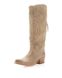 Frye - Deb Studded Lace-Back Boot, Sand