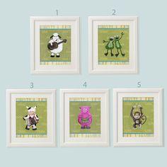 Baby art prints Art print set Baby nursery art Animal by Pituda