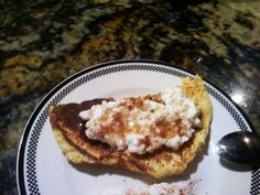 Simple Breakfast. Dukan pancake, toasted, with cottage cheese, cinnamon & drizzle of sugar free maple syrup. num.