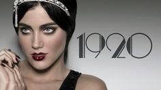 A copy of 1920's make up bold look dark eyes dark bold lip colour and flawless smooth skin