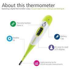 Emon Flexible Soft Tip Baby Digital Fever Thermometer for Oral Rectal or Armpit…