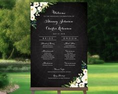 Wedding Day Itinerary For Bridal Party Signs 69 Super Ideas Wedding Program Sign, Printable Wedding Programs, Wedding Signs, Wedding Day Itinerary, Best Wedding Planner, Wedding Photo Table, Vintage Centerpieces, Vintage Chalkboard, Wedding Shoot