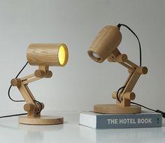 Vintage Lamp Wood Desk Lamp Retro Coffee Shop Table Lamp [iyoee] Creative E27 Bulb 110V 220V DIY Bedroom Bar Table robot Desk Light